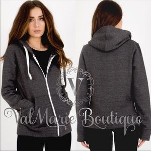 Mega Soft Charcoal Zip Up Hoodie Sweatshirt